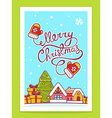christmas house with hand written text on vector image vector image