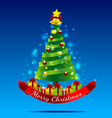 Christmas tree on the dark blue background vector image