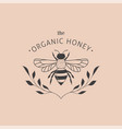 collection of hand drawn bee organic honey logo vector image