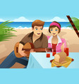 couple having a picnic vector image vector image