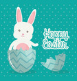 cute rabbit with broken easter egg painted vector image vector image