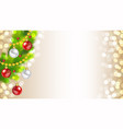 decorated christmas tree on golden bokeh lights vector image vector image