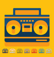Flat design cassette recorder vector image