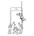 four male people cleaning big smartphone vector image