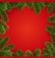 frame christmas tree twigs on red background vector image vector image