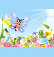 funny butterfly and caterpillar on flower field vector image
