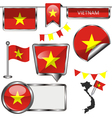 Glossy icons with Vietnamese flag vector image vector image