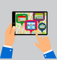 hands holding tablet with restaurants map vector image vector image