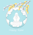 happy easter card with willow branches vector image