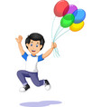 happy funny boy holding colorful balloons cartoon vector image vector image
