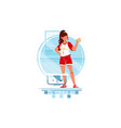 happy woman coaches and swimmers with stopwatch vector image vector image