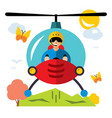 helicopter pilot flat style colorful vector image vector image