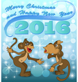 holiday card with two monkeys vector image vector image