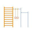 Horizontal bar with climbing rings and ladder