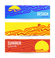 horizontal summer abstract blue and yellow banner vector image vector image
