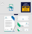 kangaroo logo template and stationery design vector image vector image