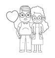 line old coupe people with glasses and hairstyle vector image vector image