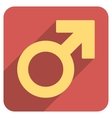 Male Symbol Flat Rounded Square Icon with Long vector image vector image