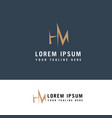 Mh logo design m and h in modern flat style logo