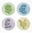Money color signs dollar euro pond vector image vector image