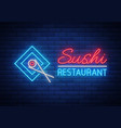 neon sign logo sushi bar asian fast-food vector image