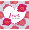 Pink Peony Flowers Heart frame 14 february vector image