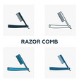 razor comb icon set four elements in diferent vector image vector image