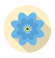 round blue flower icon on a yellow background vector image