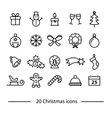 set christmas line icons vector image vector image