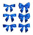 set of realistic blue bows element for decoration vector image vector image