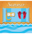 set summer icon over sand and beach vector image vector image