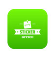 sticker stationery icon green vector image