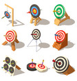 target with arrow icons set isometric style vector image vector image