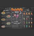 vintage chalk drawing halloween menu design vector image vector image
