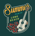 vintage summer party colorful badge vector image