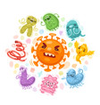 viruses and bacteria cartoon vector image