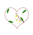 Yellow Ylang Ylang Flowers in A Heart Shape vector image vector image