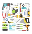 Construction equipment tools flat icons set vector image