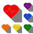 heartbeat sign set of red orange vector image