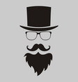 hipster elements hat glasses beard and mustache vector image