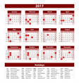 2017 Calendar bordo - template of 2017 calendar vector image