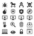 antivirus protection computer security icons set vector image