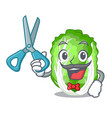 barber chinese cabbage in the basket cartoon vector image