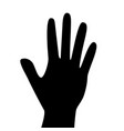 black hand silhouette isolated on white background vector image