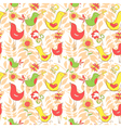 Bright colorful comics pattern with birds and leaf vector image vector image