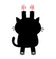 cartoon black cat scratching back view red bloody vector image vector image