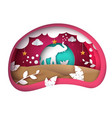 cartoon paper landscape elephant vector image