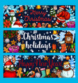 christmas winter holidays sketch banners vector image vector image