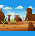desert landscape background with rocks and cactus vector image