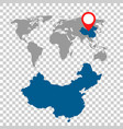 detailed map of china and world map navigation vector image vector image